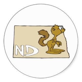 North Dakota ND Map & Prairie Dog Cartoon Round Sticker