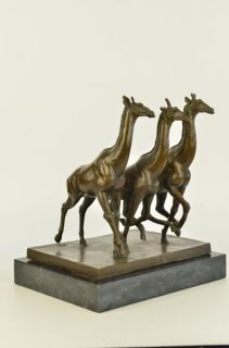 Large African Giraffe Trio Bronze Sculpture Art Marble Figurine Jungle