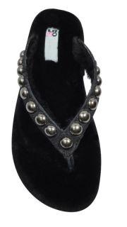 LAMO Sheepskin Black Studded Leather Flip Flop Sandals Size 7 Retails
