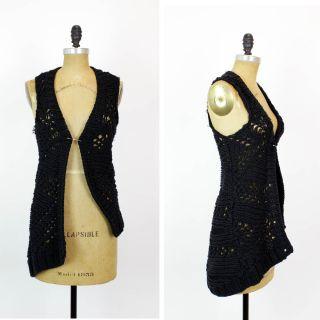Helmut Lang Sweater Vest P ✴ Black Deconstructed Chunky Knit