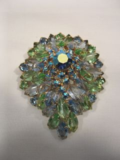 Rhinestones Brooch Pin Large Prong Set Stones Cluster