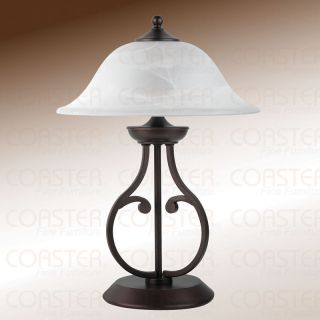 Dark Bronze Finished Pear Shaped Table Lamp White Shade