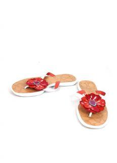 Authentic Coach White Red Leather Larisa Big Flower Flip Flops Sandals