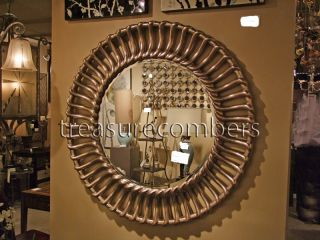 Large Round Silver Leaf Beveled Wall Mirror Modern
