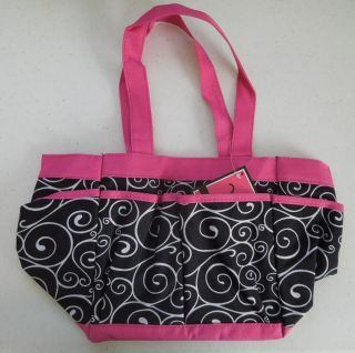 One Swirl Black Pink Mini Organizer Little Carry All Caddy Tote Thirty