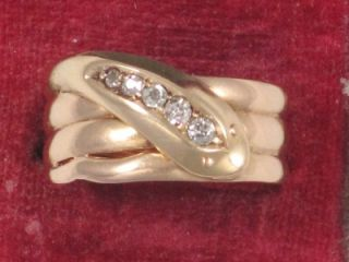 Chester Hm 18ct Gold & 5 Diamond Set Serpent or Snake Ring dated 1903