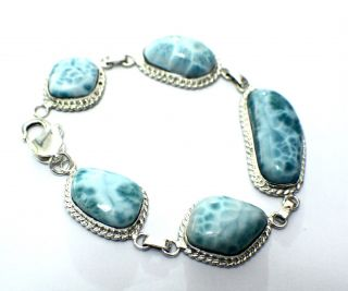 Ocean Blue Larimar Atlantis Sterling Silver Bracelet 8 4