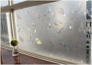 Decorative Privacy 3D Laser Static Glass Window Film Abstract Geometry