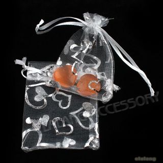 50x 120372 White Organza Silvery Heart Gift Bag 7x9cm Wedding Favours