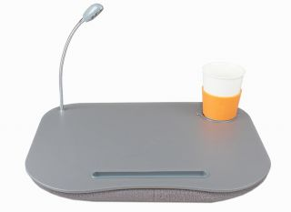 New Portable Laptop Lap Desk w LED Light Drink Holder Foam Cushion