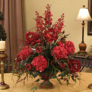 Extra Large Grande Red Silk Floral Design Flower Arrangement