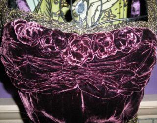 Eggplant Rose Lace Runway Vintage Dress 4 s on Laura Croft