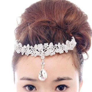 Bridal Rhinestone Crystal Prom Crown Dangle Butterfly Hair Tiara
