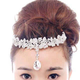 Bridal Rhinestone Crystal Prom Crown Dangle Butterfly Hair Tiara