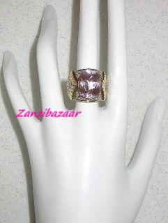 LAURA RAMSEY 14K YELLOW GOLD PINK KUNZITE & DIAMOND RING 10.62G