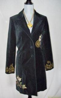 CAbi Black Velvet Long Jacket Coat 10 Embroidered Flowers Stunning