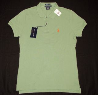 NWT RALPH LAUREN Womens Skinny Polo Shirt L Large Green Pique New