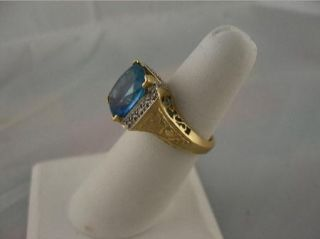 Estate Laura Ramsey London Blue Topaz Diamond Ring 14k LR Ring Box