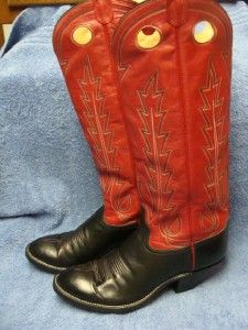 HANDMADE PAIR OF MENS LARAMIE TWO TONE COWBOY WESTERN BOOTS SZ.10D