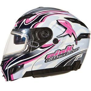 GMAX Womens GM54S Pink Ribbon Snow Helmet Large