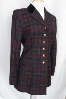 Ralph Lauren Tartan Plaid Blazer Red Green Blue Size 10 Wool Perfect