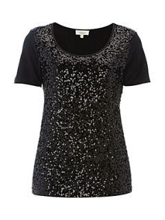 Linea Weekend Ladies Embellished Sequin Front Jersey T Shirt Black