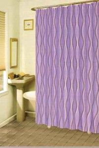 NIP Purple Plum Swirls Fabric Shower Curtain
