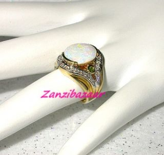 Laura Ramsey 14k Yellow Gold Australian Opal Tsavorite Garnet Diamond