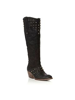 Bertie Taffie Knee High Studded Western Boots Black