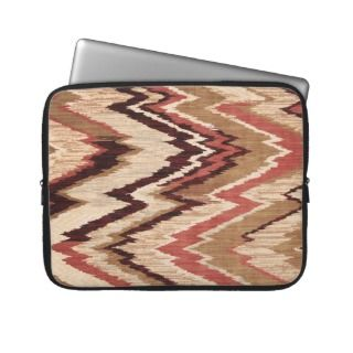Hipster Girly Brown Red Colorful Zig Zag Pattern Laptop Computer
