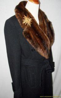 Lauren Ralph Lauren Black Wool Coat 10 Large Faux Fur Mink Collar Long