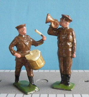 Hill 54mm Lead Models WWI Bugler Drummer Machine Gunner Mounted