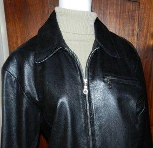 Black Leather Bike Jacket Zip Front ml Michael Lawrence Size M