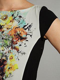 Almari Almari floral print contrast shift dress Multi Coloured