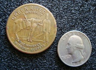 AND VINTAGE GREEN RIVER WHISKEY BRASS TOKEN. HORSE SHOE, FOUR LEAF