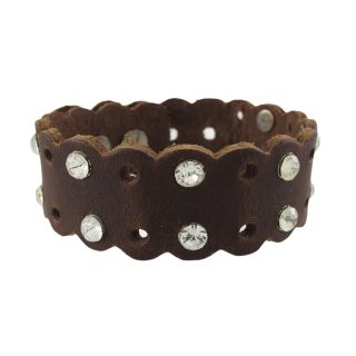Leather Rhinestone Studded Wristband Bracelet Color Choice Color Brown