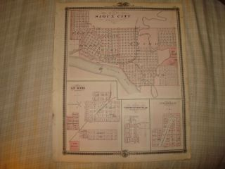 Sioux City Onawa Le Mars Monona County Iowa Antique Map