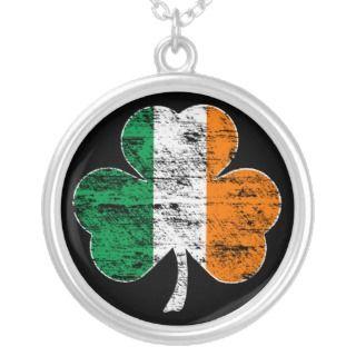 Faded Irish Flag Shamrock Sterling Round Necklace