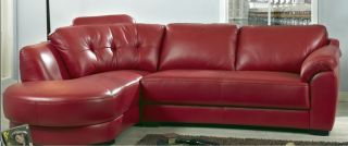 Modern Red Tufted Leather Sectional Sofa Couch Chaise