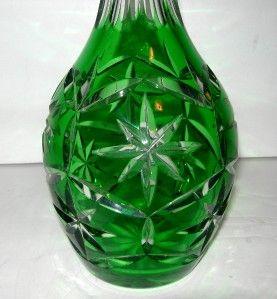Beautiful Lead Crystal Green Wine Decanter