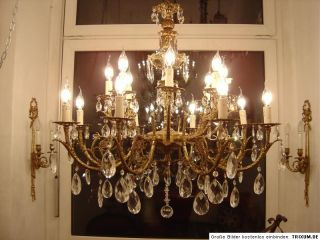 16 Lt Large Old Brass Eyecatcher Crystal Glass Chandelier Antique