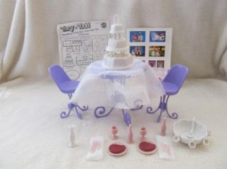 Barbie Furniture Table Two Chairs Table Cloth Wedding Cake Punch Bowl