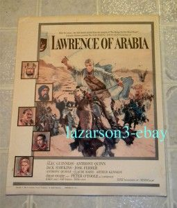 Lawrence of Arabia Camel Style Window Card Pre Oscar 1962