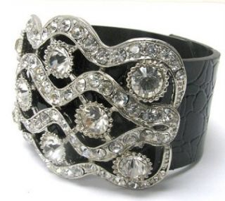 Black Leather Crystal Stud Rhinestone Silver Bracelet