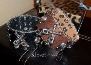 Genuine Leather Black Pistol Gun Crystal Studs Bracelet Band Cuff