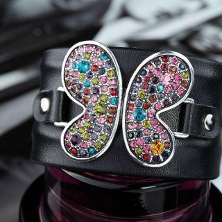 Bendable Black Leather Rhinestone Butterfly Cuff Bracelet Multicolor