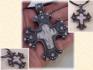 Country Western Cowgirl Rhinestone Stud Cross Necklace on Leather Cord