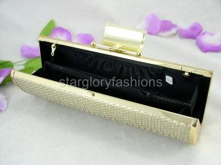 Shiny Leather Crystal Flower Pin Framed Clutch 8 Colors