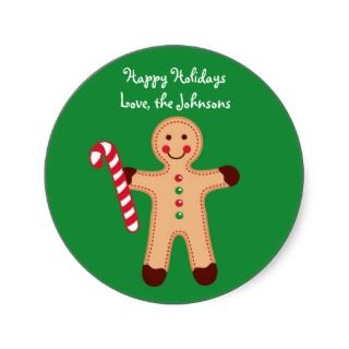 Gingerbread Man Candy Christmas Holiday Stickers