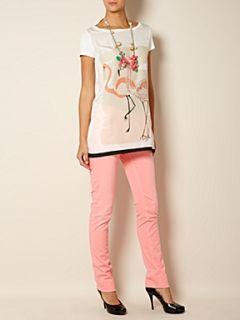Weekend MaxMara Derrik oversized flamingo print t shirt Ivory
